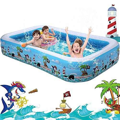 """Happitry Inflatable Pool for Kids and Family, 120"""" X 72"""" X 22"""" Full-Sized Blow up Kiddie Pool for Toddlers Ages 3+ Outdoor Backyard Water Play, Summer Swim Center for Water Party"""