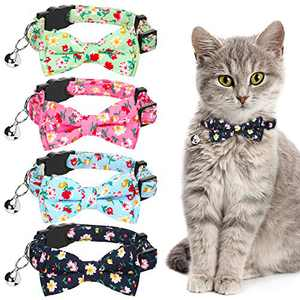 4 Pieces Cat Collars Breakaway Pet Collar with Removable Bell Bowtie Adjustable Cute Safety Buckle Collars with Printed Flowers for Pet Kitten Cats Puppy (Rose Red, Black, Green, Blue)