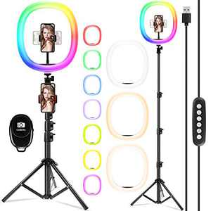 【Upgraded】 12-inch Selfie Ring Light with Adjustable Tripod Stand & Cell Phone Holder, LED O Ring Light for Live Stream, YouTube Video, Makeup (12-inch-RGB+3colours-Large)