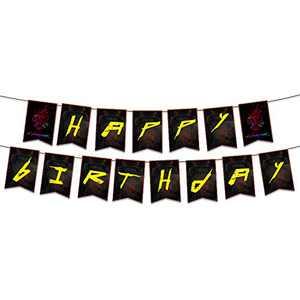 Cyberpunk 2077 happy birthday banner, personalized happy birthday banner for birthday party decorations