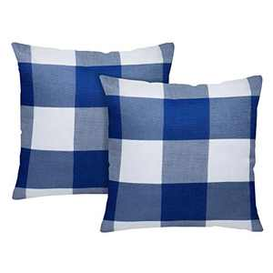 UINI Pack of 2 Classic Blue White Buffalo Checkers Plaid Throw Pillow Covers Soft Solid Linen Accent Square Pillowcases 18×18 Inch with Hidden Zipper Pillow Case for Outdoor Couch Sofa Bed