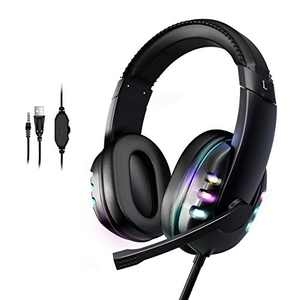 Hopemate Immersive Gaming Headset for PS5, Xbox Series X, Nintendo Switch, PC Heatset with Noise Cancellling Microphone, Light-Weight Headset with Ergonomic Design and Soft Memory Earmuffs
