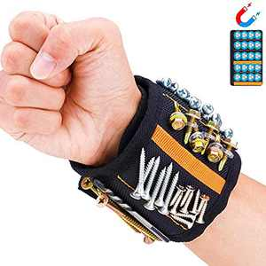 Magnetic Wristband Tool Belt Small Tool Gifts with 15 Strong Magnets for Holding Screws,Nails and Drill,Father's Day and Birthday Gift for Carpenter,Handyman,Mechanics,Electrician,Husband