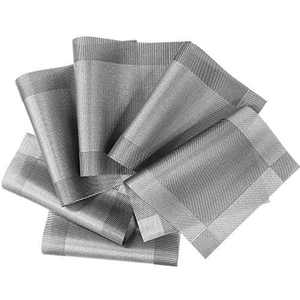 NEQUARE Placemats for Dining Table, Set of 6 Woven Vinyl Mats Heat Insulation Stain Resistant Non-Slip Washable PVC mats for Kitchen Patio Table Thanksgiving Christmas Decorations, 18x12 Inch B Grey