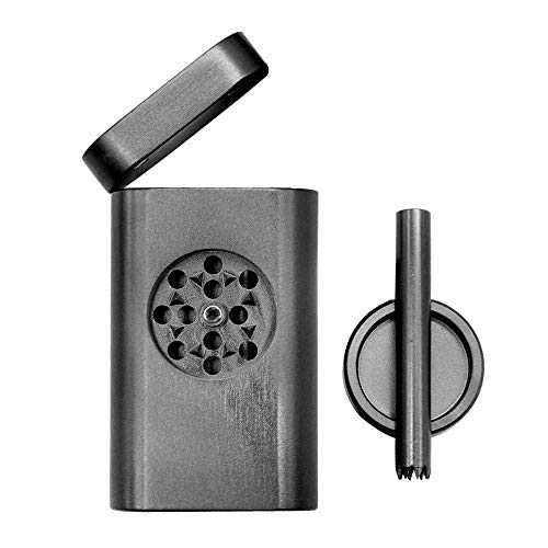 Portable Stash Holder Box and Grinder with Magnetic Lid Large Capacity Storage Container (Black)