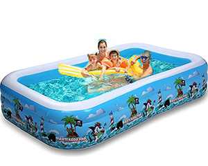 """Big Swimming Pool for Family, 118""""×72""""×22"""" Inflatable Pool for Kiddie Kids Adults, Above Ground Pools for Backyard Deep"""
