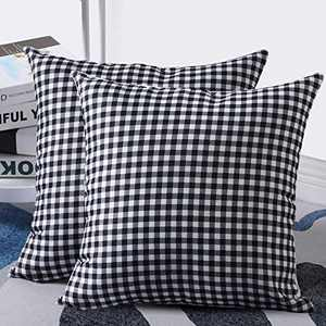 UINI Pack of 2 Farmhouse Decorative Throw Pillow Covers Classic Black White Buffalo Checkers Plaid Pillow Covers Soft Solid Linen Accent Square Throw Pillow Cases 18×18 Inch with Hidden Zipper