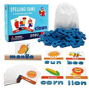 Conzy Educational Toys for 3 Years Old, Spelling and Learning Toy Wooden Matching Letter Game with Alphabet Letters Words Montessori Activities for Preschool Kids Aged 5-7 Toddlers Boys Girls