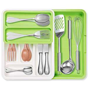 Expandable Cutlery Drawer Organizer, GOKOCO Adjustable Flatware Drawer Tray for Silverware,PP 7 Slots Drawer Dividers for Flatware, Bedroom, Living Room,Office, Bathroom Supplies-BPA Free, Food Safe