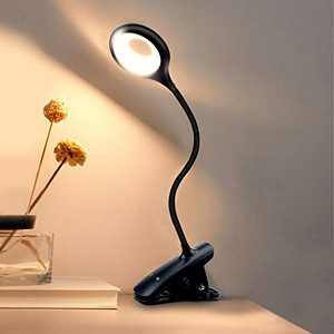 Luxvista Dimmable Clip-on Book Lamp, Desk Stand Light LED Rechargeable for Reading in Bed at Night, Gifts for Kids Lights, Flexible Gooseneck for Table Desk (Black, 1-Pack)