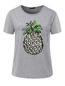 Avanova Women's Pineapple Graphic Printed Tee Short Sleeve Round Neck Casual T Shirt Tops Grey Large
