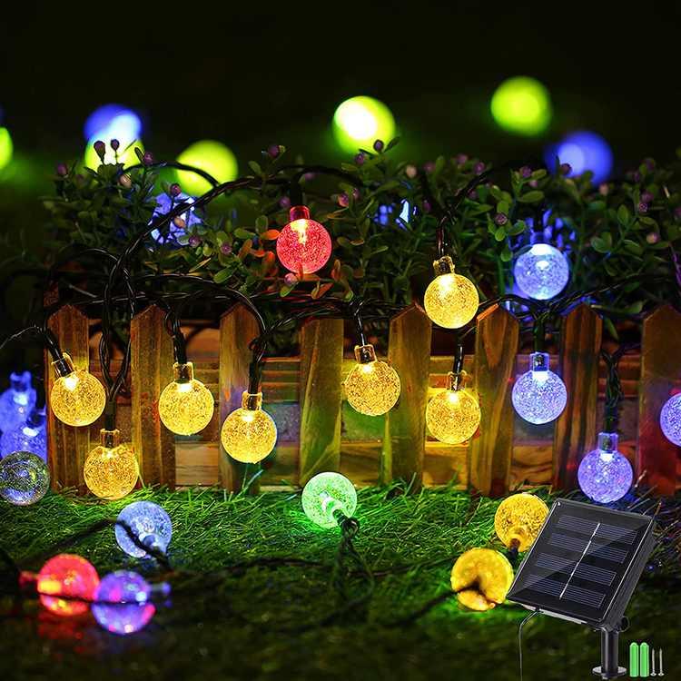 Geemoo 60 LED Globe Solar String Lights, 8 Modes Waterproof Solar Lights Outdoor Garden, Solar Powered Fairy Lights for Garden Patio Porch Gazebo Decor (Multicolor)