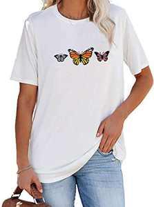 Avanova Women's Butterfly Print Graphic Tee Short Sleeve Round Neck Casual T-Shirt Tops White Butterfly Medium