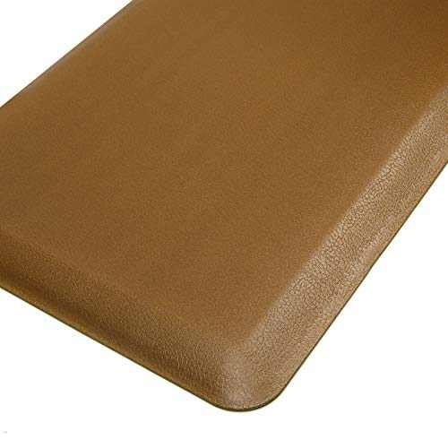 "HEBE 4/5"" Thick Cushioned Comfort Mats Oversized Kitchen Floor Mat Runner Anti Fatigue Mats for Kitchen Floor Standing Desk Non Skid Waterproof Kitchen Rugs Heavy Duty (20""x42"", Beige)"