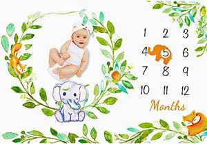 """Baby Monthly Milestone Blanket for Boys and Girls, Newborn Month Blanket Personalized Shower Gift Soft Fleece Photography Background Photo Prop Green Leaves Elephant Blanket with Frame Large 60"""" x 40"""""""