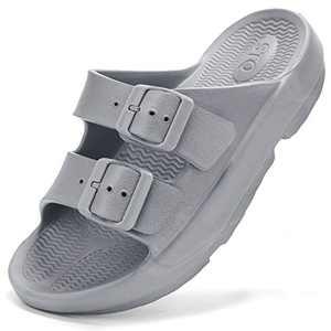 STQ Unisex Comfort Slide Sandal Men Women Soft Cushion Footbed Orthotic Sandals for Outdoor Sport Beach Grey 5-6 Women/3-4 Men