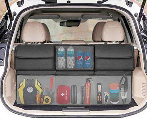 SRAMI Back Seat Trunk Organizer Hanging Car Organizer Foldable Cargo Storage with 6 Large Pockets 3 Adjustable Straps - Fit for SUV or Truck