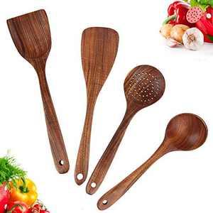 Wooden Cooking Utensils Set,Wooden Kitchen Utensil Set Includes Wooden Cooking Spoons and Wooden Spatula Set for Nonstick Cookware,Teak Utensils of Natural Unpainted (Set 4)