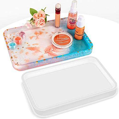 ONEBOM Silicone Tray Molds for Resin,Resin Casting Molds with Upgrade Wooden Bottom Support,Large Resin Molds for DIY Jewelry Holder&Decorative Tray