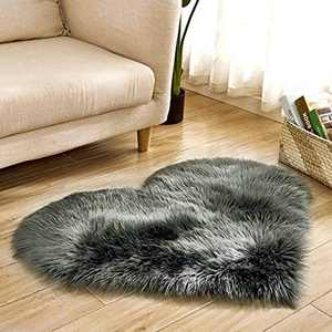 Soft Faux Fur Area Rug Chair Cover Seat Pad Fuzzy Area Rug for Bedroom Floor Sofa Living Room 30X40cm (Black)
