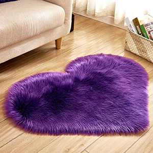Soft Faux Fur Area Rug Chair Cover Seat Pad Fuzzy Area Rug for Bedroom Floor Sofa Living Room 30X40cm (Purple)