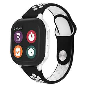 Gizmo Watch Band Replacement for Kids - Breathable Soft Silicone Band Compatible with Verizon Gizmo Watch 2 / Gizmo Watch 1, Black White