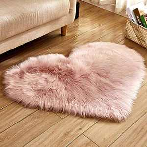 Soft Faux Fur Area Rug Chair Cover Seat Pad Fuzzy Area Rug for Bedroom Floor Sofa Living Room 30X40cm (Pink)