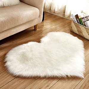 Soft Faux Fur Area Rug Chair Cover Seat Pad Fuzzy Area Rug for Bedroom Floor Sofa Living Room 30X40cm (White)