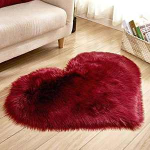 Soft Faux Fur Area Rug Chair Cover Seat Pad Fuzzy Area Rug for Bedroom Floor Sofa Living Room 30X40cm (Wine)