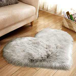 Soft Faux Fur Area Rug Chair Cover Seat Pad Fuzzy Area Rug for Bedroom Floor Sofa Living Room 30X40cm (Gray)