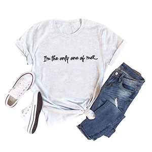 I'm The Only One Shirt Women Inspirational Quotes Letter Printed Short Sleeve Top (Grey, M)