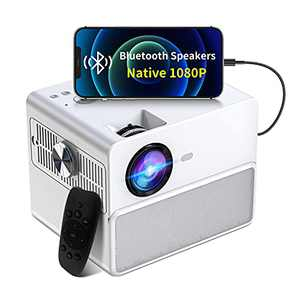 Native 1080P Bluetooth Projector, Towond Portable HiFi Speaker Movie Projector,4K 7500L Video Protectors Compatible with TV Stick HDMI VGA USB TF AV for Home Theater/Outdoor Cinema, Remote Control