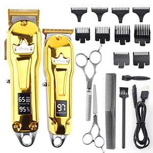 Ufree Hair Clippers for Men Barber Clippers Trimmer Set for Hair Cutting Hair Clippers for Men Professional Cordless Clippers Professional Barbers & T Blade Trimmer LED Display(Gold)