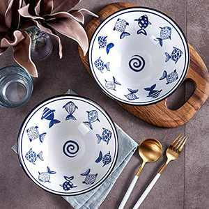 Ramen Bowls with Chopsticks and Spoons Set of 2, Porcelain Japanese Noodle Soup Bowl 40oz for Asia Pho Udon Soba Noodle Salad Pasta Dishwasher Safe, JH JIEMEI HOME
