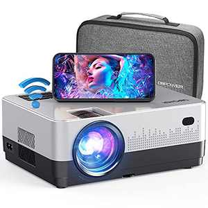"""DBPOWER WiFi Projector, Upgrade 8500L Full HD 1080p Video Projector with Carry Case, Support iOS/Android Sync Screen, Zoom&Sleep Timer, 4.3"""" LCD Home Movie Projector Compatible w/Smart Phone/Laptop"""