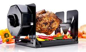 Roto Tisserie! Non Electric Rotisserie Machine. Portable for Convection Oven, Air Fryer Oven, BBQ Rotisserie, Fire Pit. Self Rotating Spit Roaster for Rotisserie Chicken, Shawarma, and 5lbs Foods