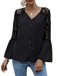 Womens Lace Patchwork 9/10 Bell Sleeve Blouse Button Down Loose Tops Black L