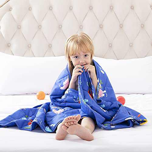 ROKDUK Kids Weighted Blanket Throw 7 lbs. 41x60 in, 100% Oeko-Tex Natural Egyptian Cotton 1200TC for Toddler Heavy Comforter with Glass Beads, Printed Light Blue Dinosaur