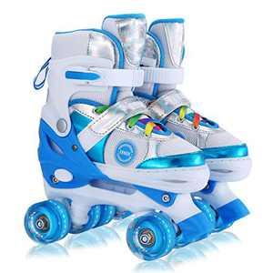 Kids Adjustable Roller Skates for Girls Boys, All 8 Wheels Illuminating. (Blue, Medium(2-5))