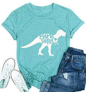 T&Twenties Mama Dinosaur Shirt Cute Mama Saurus Shirts for Women Casual Mom Dinosaur Mama Saurus Graphic Tee Shirt Light Blue
