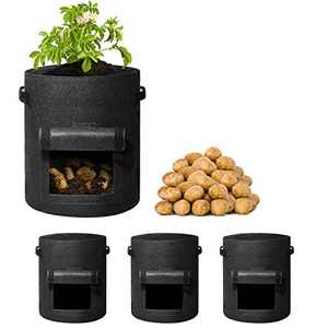 Delxo 3 Pack 10 Gallon Potato Grow Bags , Vegetable Grow Bags with Velcro Window , Double Layer Premium Breathable Nonwoven Cloth for Potato/Plant Container/Aeration Fabric Pots with Handles Black