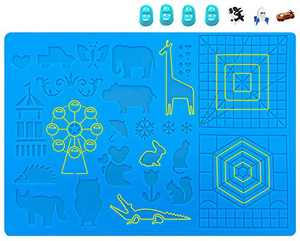 Moyisea 3D Pen Mat, 3D Printing Pen Pad Silicone Template Mat for Kids and Adults - 3D Pen Accessories with Various Pattern and 4 Finger Caps, 16.1 x 10.6 inches