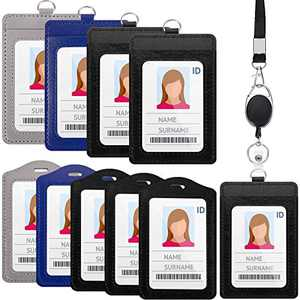 10 Pieces Leather ID Badge Holder ID Card Holders with 1 Piece Detachable Neck Lanyard Strap and 1 Piece Retractable Badge Reel for Badges, 2 Styles (Vertical Style)