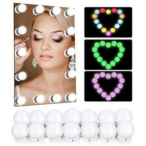 RGB Vanity Mirror Lights Kits, Hollywood Makeup Mirror Lights with 14 Dimmable Colorfull Light Bulbs, Lighting Fixture Strip for Makeup Vanity Table and Bathroom Wall Mirror