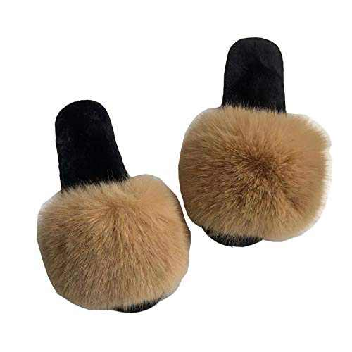 OUISISI Women's Fluffy Slippers Furry Slides for Women Bedroom Indoor Outdoor Sleepers for Woman Fuzzy Slides