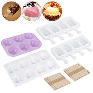 Heart Diamond Shaped Cake Mold Tray, Medium Semi Sphere Silicone Mold, Silicone Popsicle Molds Ice Pop Molds with 50 Pieces Wooden Sticks for Valentine Chocolate Bombs, Mousse Cake Baking, Desserts