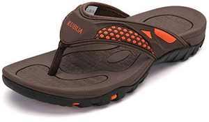 KUBUA Men's Beach Flip-Flops Water Sandals Outdoor Athletic Thong Sandal Slippers Ds-Brown