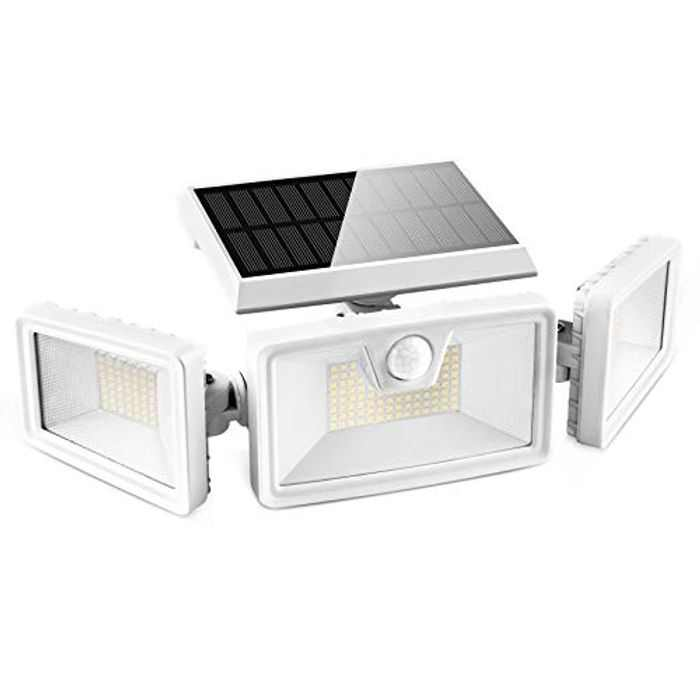 Otdair 188 LED Solar Light Outdoor, 3 Modes Solar Security Motion Sensor Light IP65 Waterproof Flood Light Rotatable Wall Light for Garden Garage Pathway Patio Yard Porch 2 Pcs White
