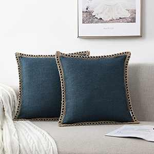 NordECO HOME Set of 2 Throw Pillow Covers - Burlap Linen Trimmed Tailored Edges Decorative Cushion Covers for Bed Home Decoration, 18 x 18, Dark Blue