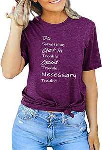 Do Something Get in Trouble Good Trouble Necessary Trouble T-Shirt Womens Loose Casual Tee Tops Purple